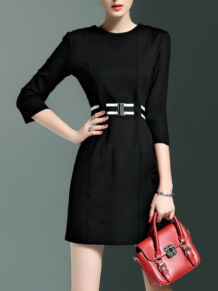 Black A-line Simple Cotton-blend Mini Dress