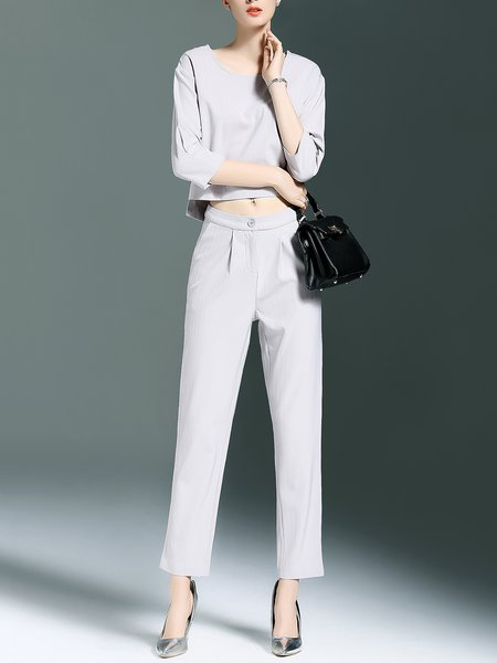 Gray Polyester 3/4 Sleeve Pockets Crew Neck Two Piece Jumpsuit