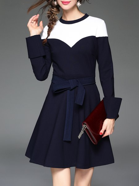 Dark Blue Crew Neck Color-block A-line Casual Mini Dress