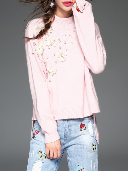 Pink Crew Neck High Low Girly Knitted Sweater
