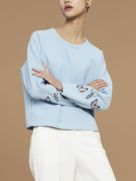 Sky Blue Butterfly Embroidered Casual Long Sleeved Top