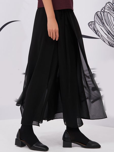 Black Swing Mesh Plain Casual Maxi Skirt