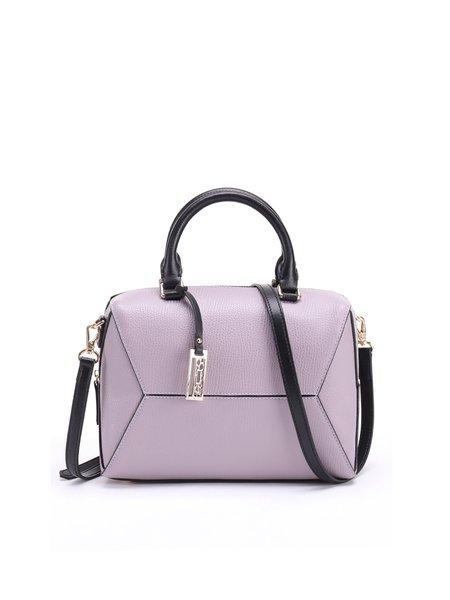 Purple Cowhide Leather Casual Small Top Handle