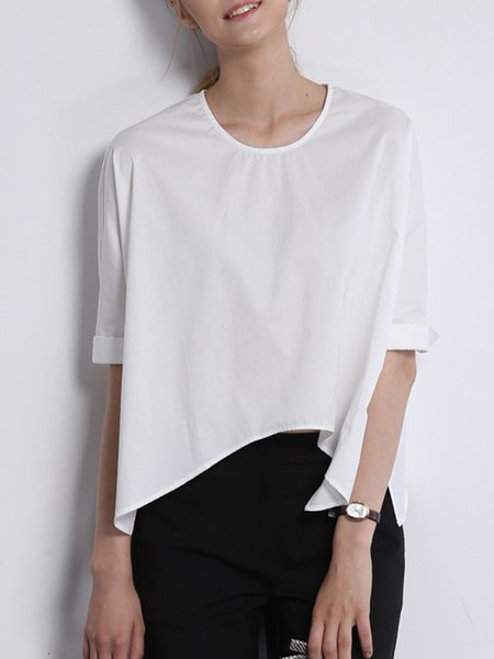 White Slit Casual Cropped Top