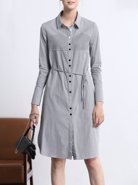 Black Long Sleeve Shirt Collar Shirt Dress