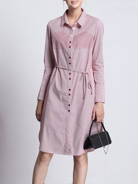 Stripes Casual Long Sleeve Shirt Dress