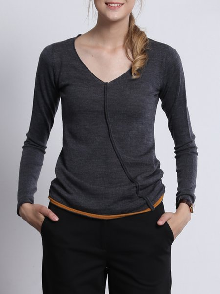 Deep Gray Casual Knitted Wool Long Sleeved Top