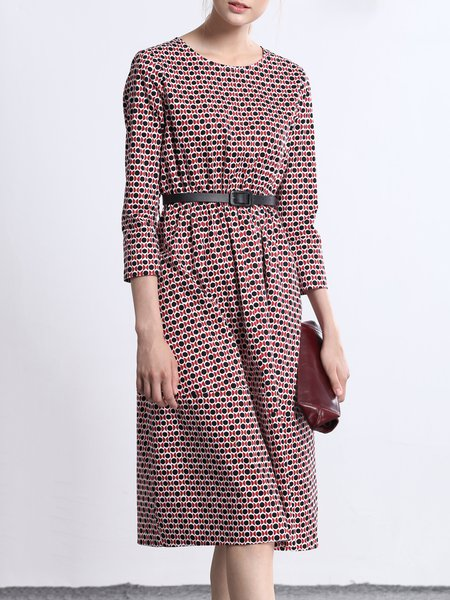 Red Geometric Casual Midi Dress with Belt