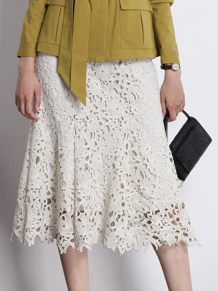 Beige Casual Floral Midi Skirt