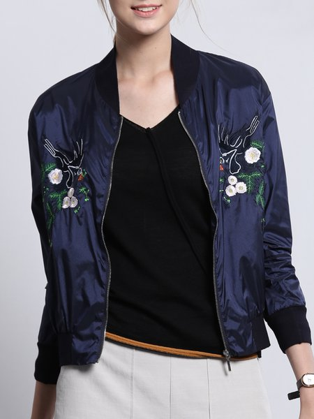 Dark Blue Long Sleeve Floral Embroidered Stand Collar Coat