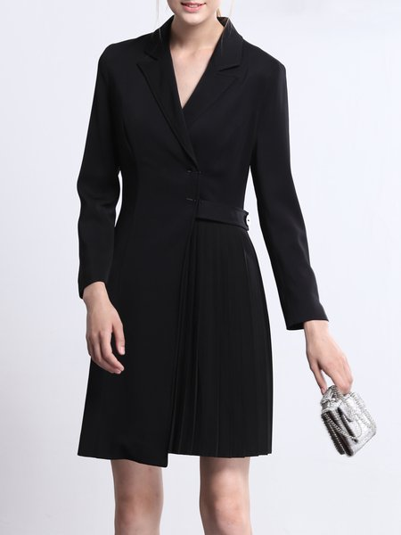 Black Plain Long Sleeve Mini Dress