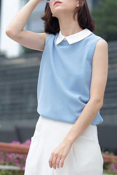 Work Sleeveless Shirt Collar Plain Chiffon Tanks