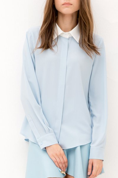 Light Blue Long Sleeve Shirt Collar Plain Color-block Blouse
