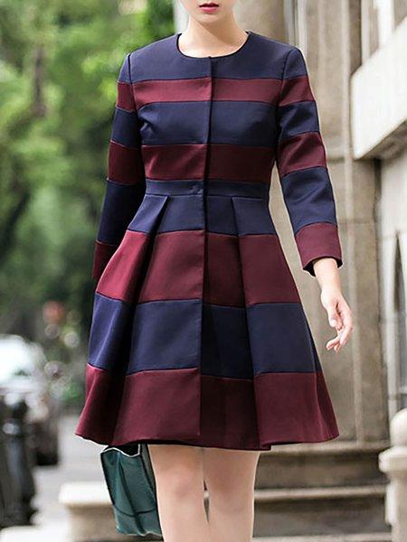 Elegant Long Sleeve Color-block Plain Coat