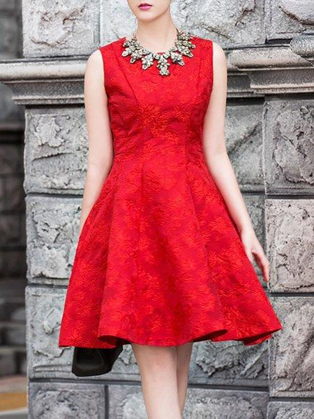 Red Viscose Sleeveless Embossed Midi Dress