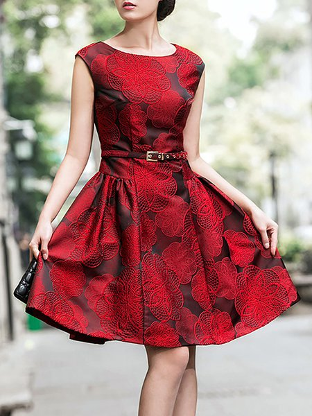 Red Cocktail Polyester Crew Neck Embroidered Midi Dress