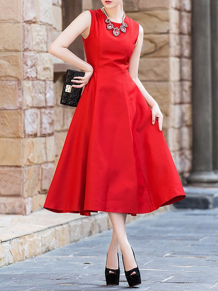 Red Plain Polyester Cocktail Midi Dress