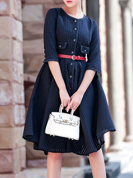Blue Crew Neck A-line Half Sleeve Plain Midi Dress with Belt