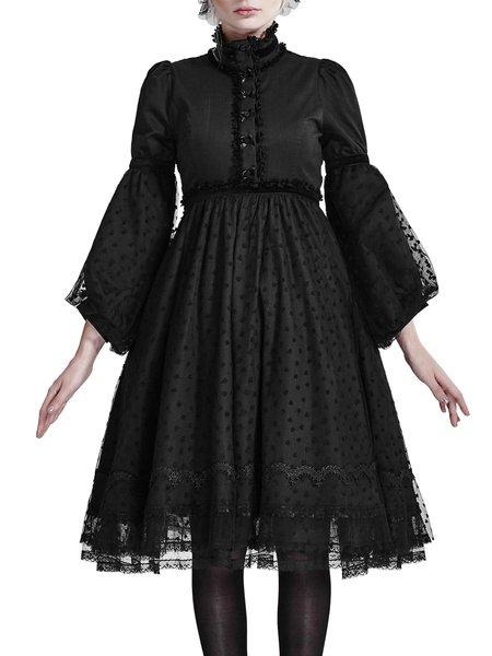 Black Girly Mesh Bow A-line Midi Dress