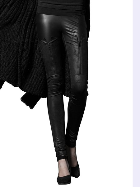Black Street Washed Leather Pants