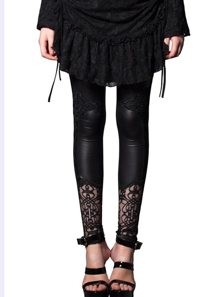 Black Lace Up Printed Sexy Skinny Leg Pants