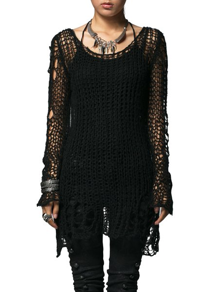 Black Long Sleeve Crocheted Statement Solid Casual Sweater