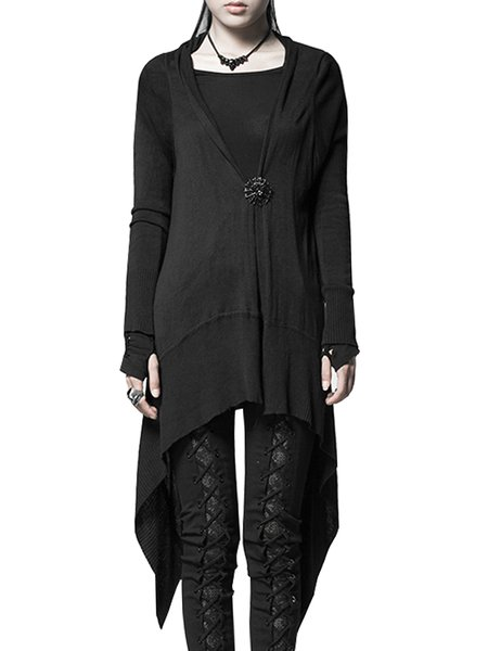Black Asymmetric Viscose Simple Cardigan