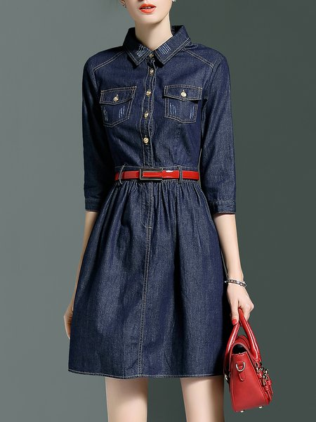 Blue 3/4 Sleeve Cotton Denim Mini Dress