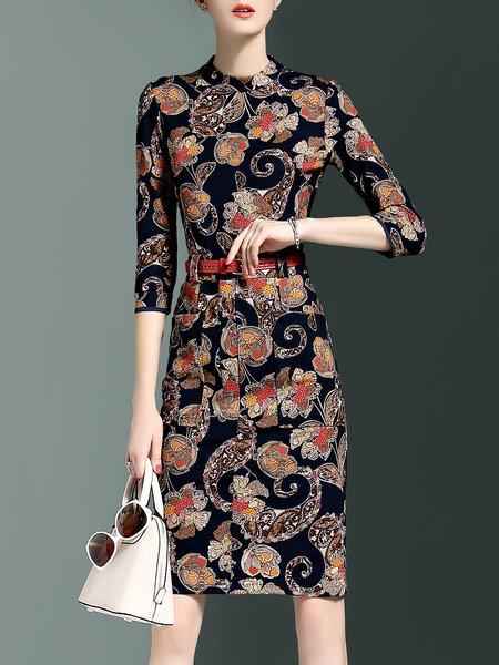 Black 3/4 Sleeve Stand Collar Sheath Midi Dress