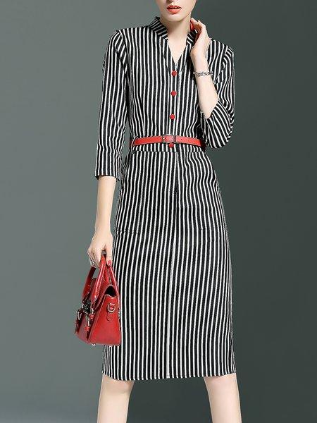 Casual 3/4 Sleeve Printed Stripes Midi Dress