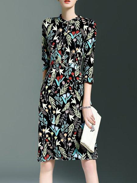 Elegant 3/4 Sleeve Floral Printed A-line Midi Dress