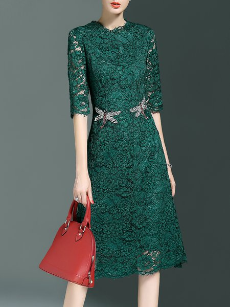 Cocktail Crew Neck Half Sleeve Lace Midi Dress