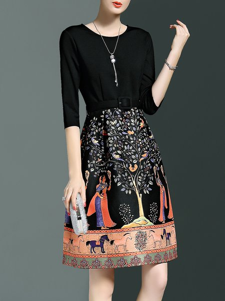 Black A-line Printed Casual Crew Neck Midi Dress