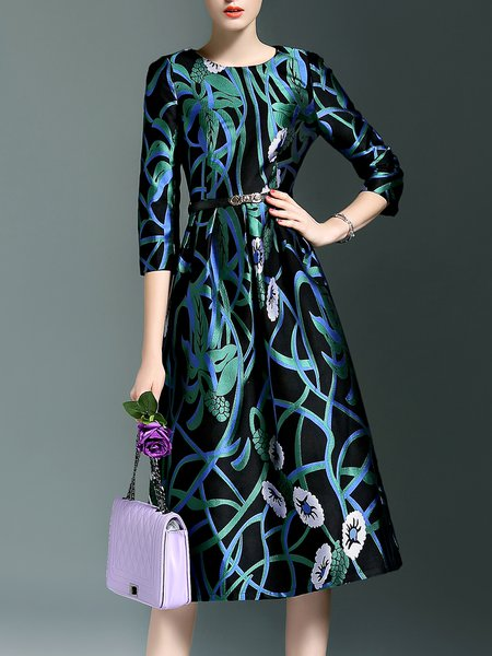 Green Floral A-line Cocktail Crew Neck Midi Dress with Belt