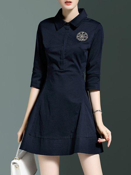 Blue 3/4 Sleeve Shirt Collar Cotton-blend Mini Dress