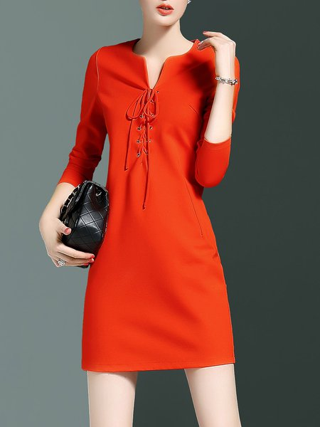 Cotton-blend Long Sleeve Bandage Simple A-line Mini Dress