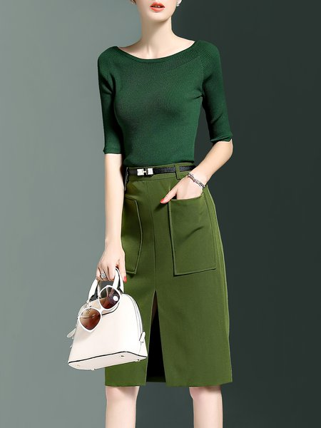 Green Two Piece Slit Half Sleeve Midi Dress with Belt