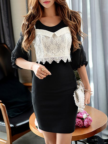 Black Girly Sheath Crew Neck Mini Dress