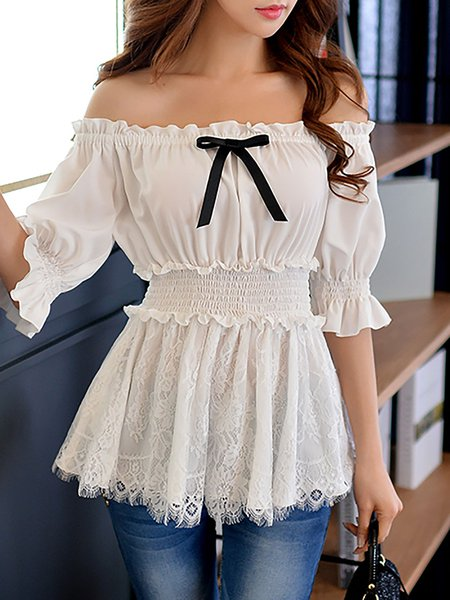 Sweet Off Shoulder Bow Balloon Sleeve H-line Blouse