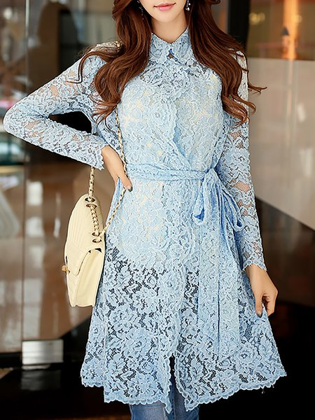 Long Sleeve Shirt Collar Sweet Floral Crocheted Lace Trench Coat