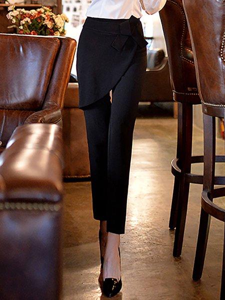 Black Simple Plain Bow Straight Leg Pants