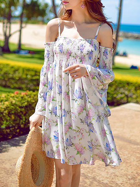 Beach Floral Print Long Sleeve Mini Dress