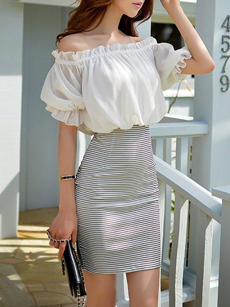 White Half Sleeve Printed Mini Dress