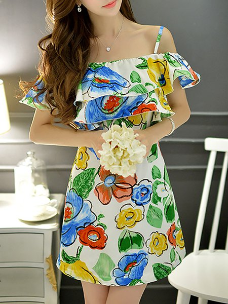 Multicolor Sweet Polyester Printed Ruffled Mini Dress