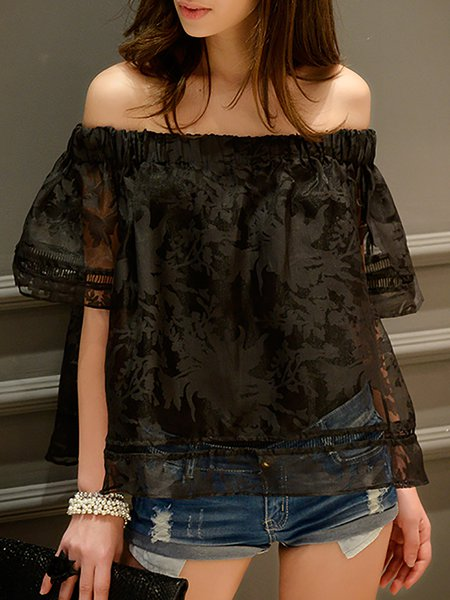Black 3/4 Sleeve H-line Off Shoulder Floral Blouse