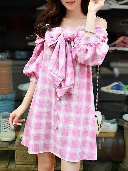 Pink Checkered/Plaid 3/4 Sleeve Off Shoulder Mini Dress