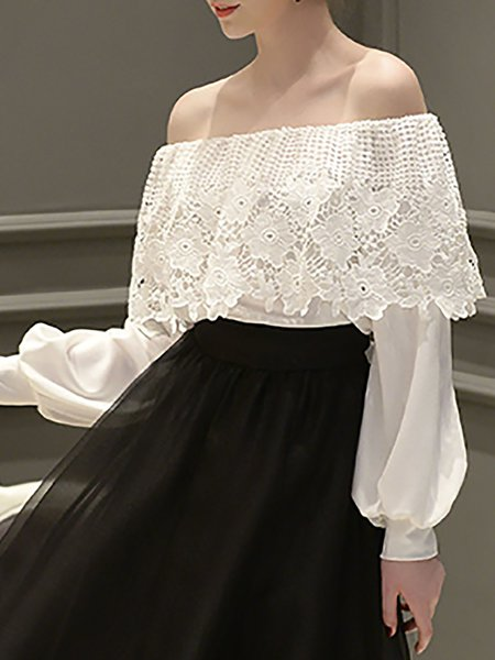 Off Shoulder Long Sleeve Sweet Polyester Pierced Blouse