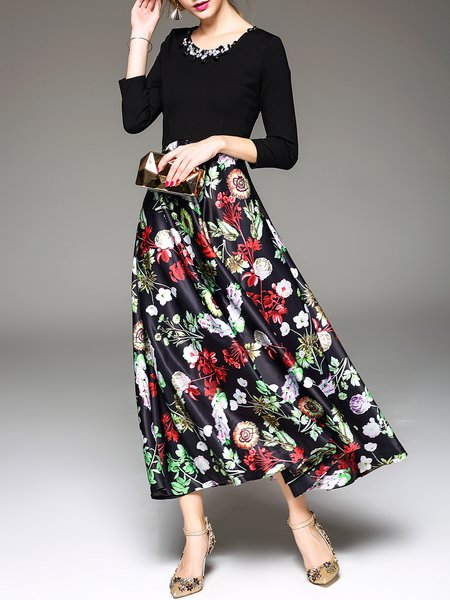 Black Polyester Floral Print A-line 3/4 Sleeve Maxi Dress