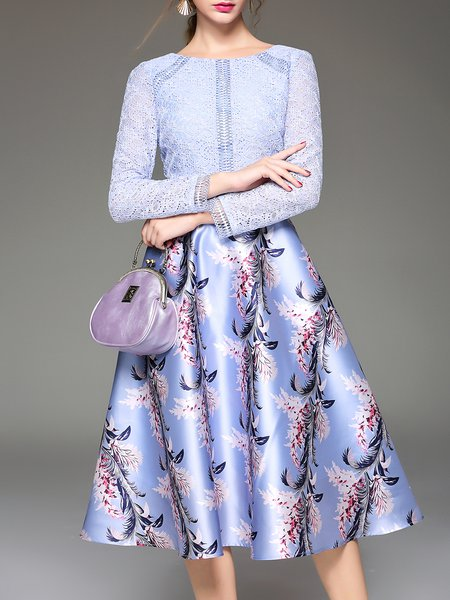 Blue Crew Neck A-line Sweet Printed Lace Paneled Midi Dress