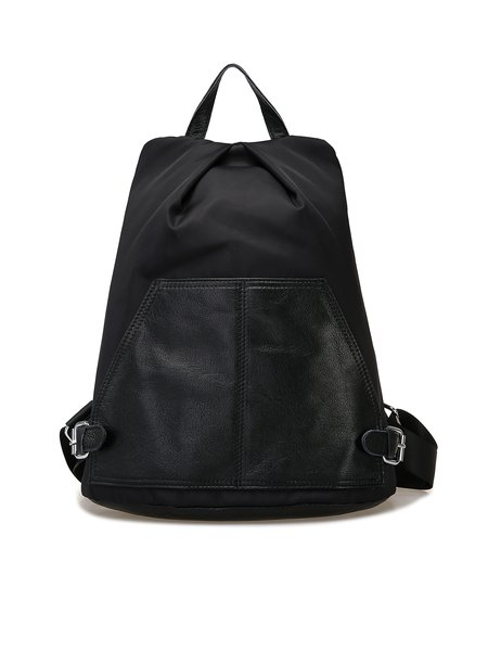 Black Medium Cowhide Leather Casual Backpack